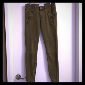 PAIGE ARMY GREEN ZIP-LEG MARLEY JEANS
